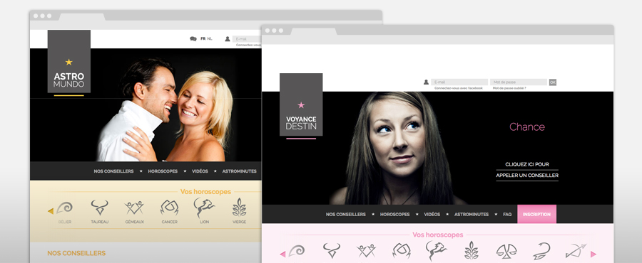 Sites internet Astromundo et Voyance destin en responsive design