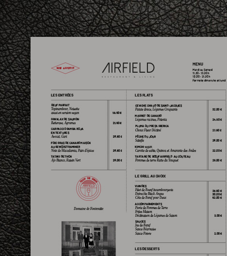 exemple de page du menu du restaurant Airfield