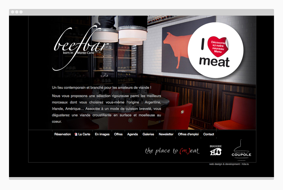 Page dédiée au beef bar - site web The Place to (m)eat