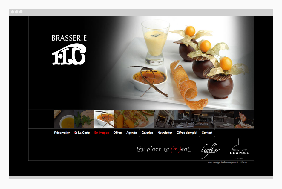 Page de la Brasserie Flo - Site internet The Place to (m)eat