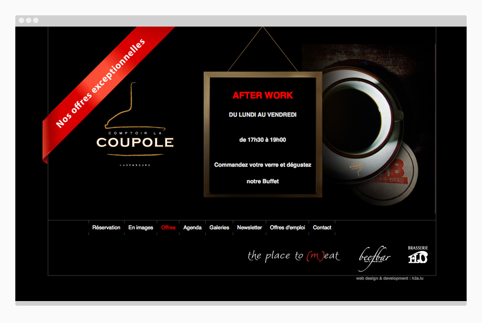 Page de La Coupole - site web The Place to (m)eat