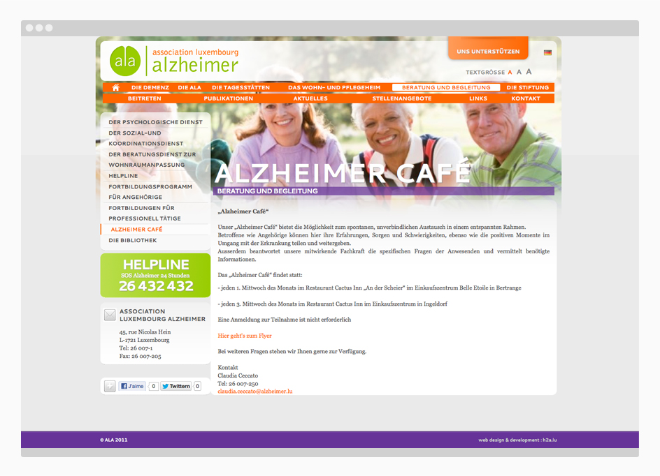 Site web Association Luxembourg Alzheimer - page interne