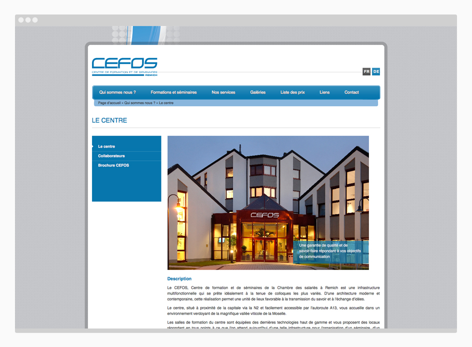 Site internet CEFOS Luxembourg