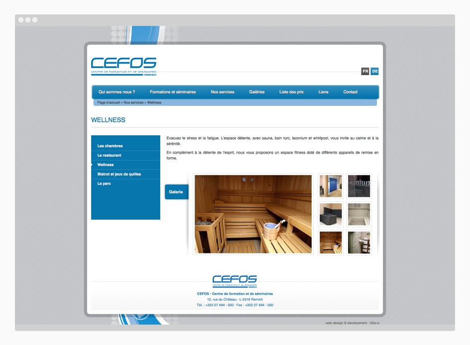 Site web CEFOS - page interne