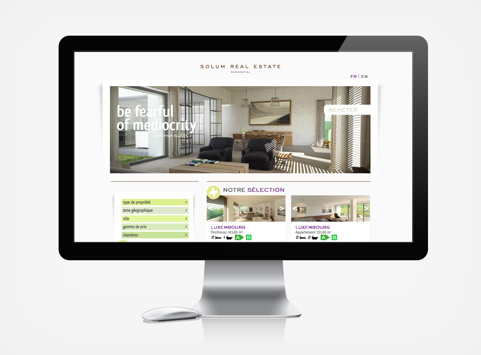 Solum Residential, site internet immobilier