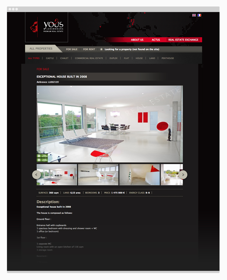 Fiche bien immobilier - site web Yous Real estate