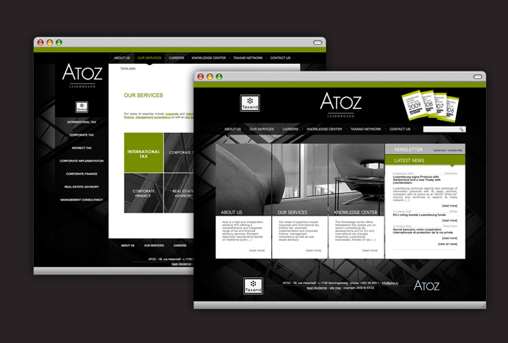 Webdesign site web d'ATOZ Luxembourg